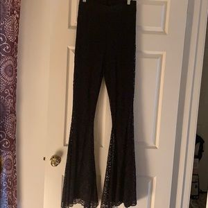 Beautiful black lace big bell bell bottoms